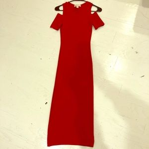 MK cherry red midi dress with shoulder cuts